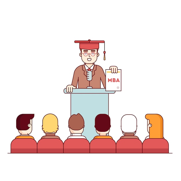 MBA student graduation rostrum speech Free Vector