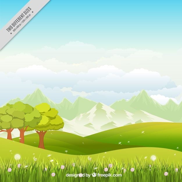 Meadow background with trees and flowers Free Vector