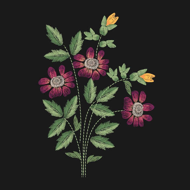 Meadow flower embroidered with pink, yellow and green stitches illustration. Premium Vector