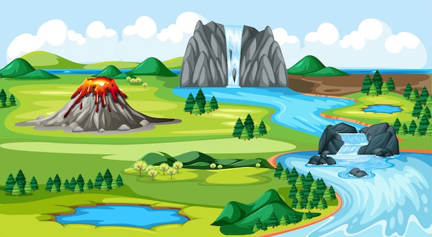 Meadow park and volcano with water fall river side landscape scene Free Vector