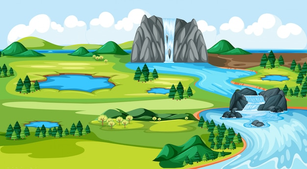 Meadow park with water fall river side landscape scene Free Vector