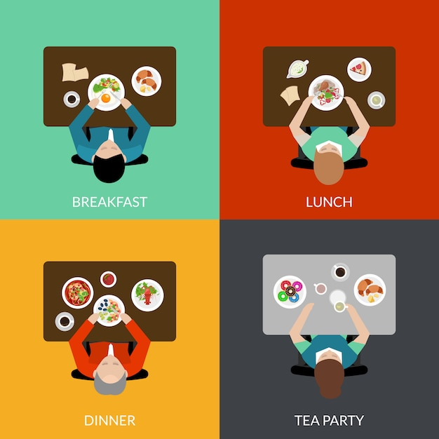 Meal time set Free Vector