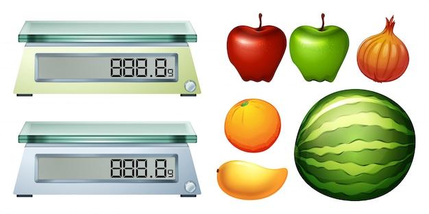 Показательные весы и иллюстрации свежих фруктов Бесплатные векторы