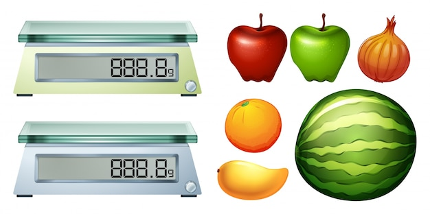 Measurement scales and fresh fruits illustration Free Vector