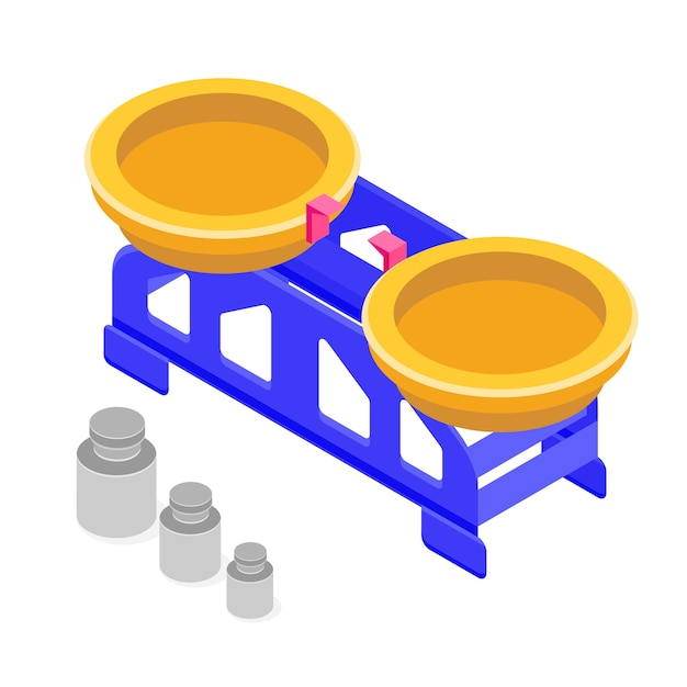 Изометрическая шкала с изометрическим значком веса Premium векторы