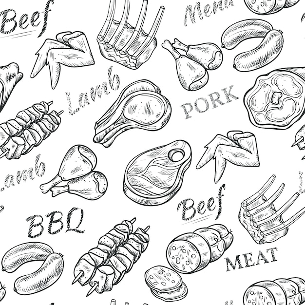 Meat black white sketch seamless pattern with beef and pork Free Vector