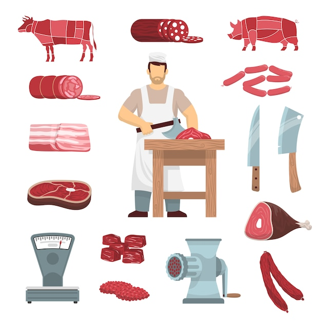 Meat butcher set Free Vector
