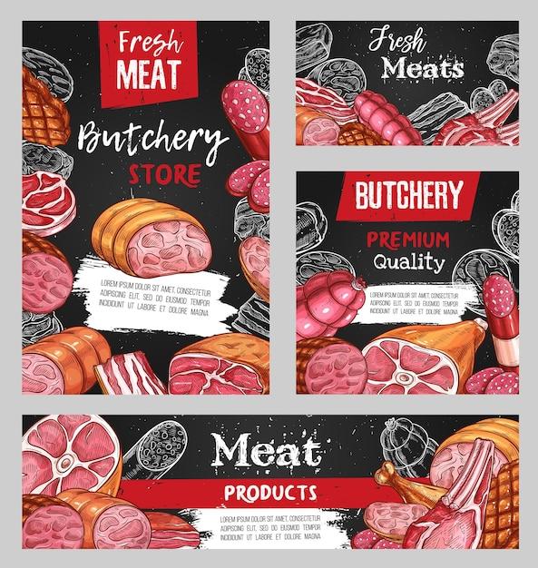 고기, 정육점 스케치 쇠고기, 돼지 고기 및 양고기 음식, 칠판. 프리미엄 벡터