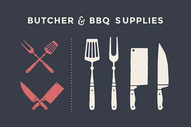 肉切りナイフとフォークのセット。肉屋とバーベキュー用品。ポスターミートナイフ、包丁、シェフ、グリルフォーク。肉屋とデザイン肉屋のテーマの肉屋肉ナイフのセット。 Premiumベクター