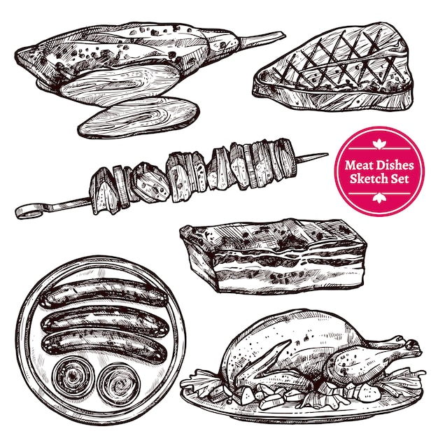 Meat dishes set Free Vector