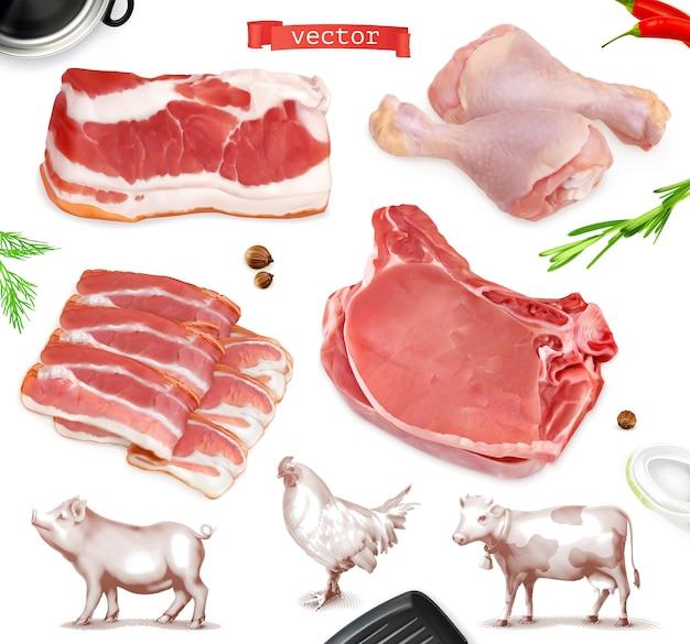 肉料理。牛肉、豚肉、鶏足のイラストセット Premiumベクター