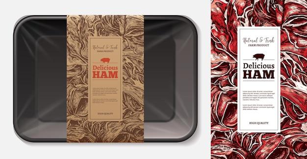 공예 종이 태그 템플릿이있는 3d 현실적인 거품 트레이가있는 고기 식품 라벨 레이아웃 프리미엄 벡터