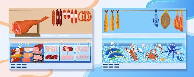 Иллюстрация стойла рынка мясных продуктов. задний план Premium векторы