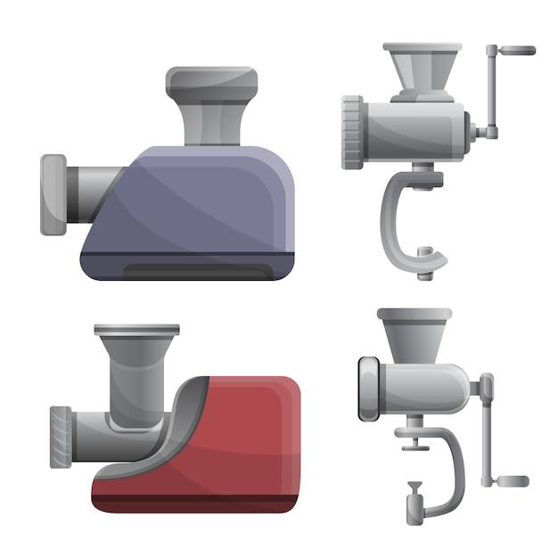 Meat grinder icons set, cartoon style Premium Vector
