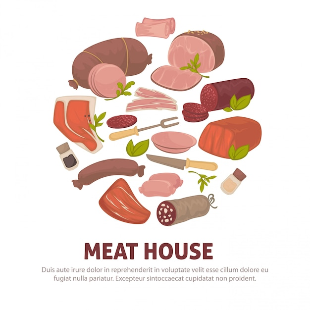 Meat house poster of  meat and sausages delicatessen icons Premium Vector
