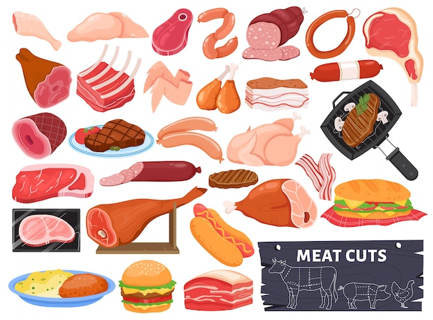 Meat  illustration set, cartoon  raw or served food collection with roasted pork beef lamb or chicken, hot grilled meat steak Premium Vector