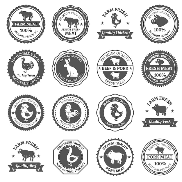 Meat labels set Free Vector