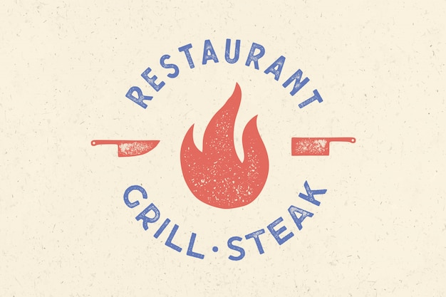 Meat logo. logo for grill house restaurant with icon fire, knife Premium Vector