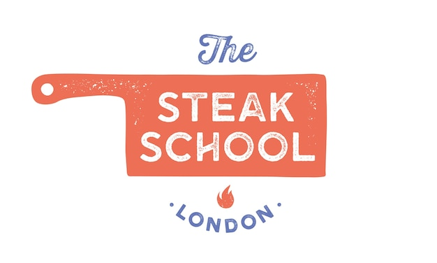 Meat logo. logo template for cooking school, class, kitchen course with icon chef knife, text typography steak school. graphic logo template - label, banner. Premium Vector