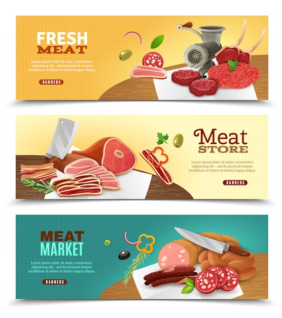 Meat market horizontal banners set Free Vector