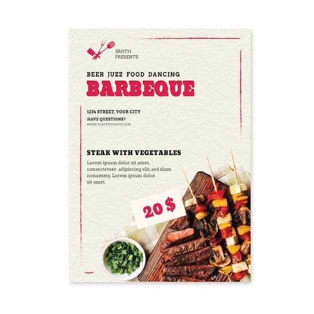 Мясо на шпажках барбекю вертикальный флаер Бесплатные векторы