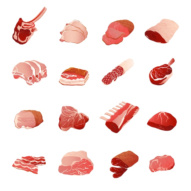Meat products icons set Free Vector