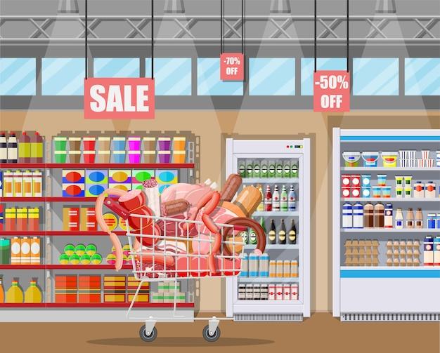 슈퍼마켓 카트에 육류 제품. 고기 가게 정육점 쇼케이스 카운터. 프리미엄 벡터
