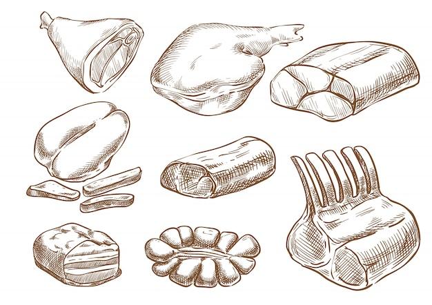 Мясо набор векторных эскиз рука рисунок Premium векторы