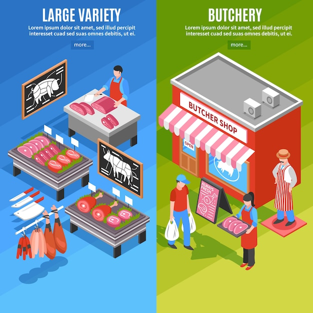 Meat shop isometric banners Free Vector