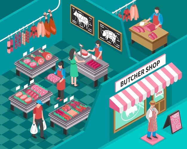 Meat shop isometric illustration Free Vector