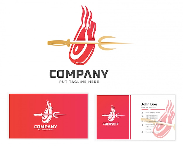Meat steak logo with with business card Premium Vector