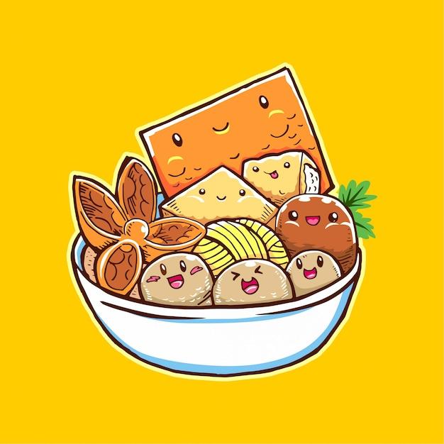 Meatball food cartoon for your business Premium Vector