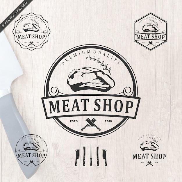 Meatshop logo design Premium Vector