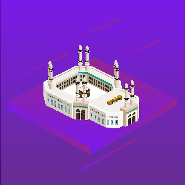 Mecca mosque arabia muslim islam direction 3d icon kaaba Vector