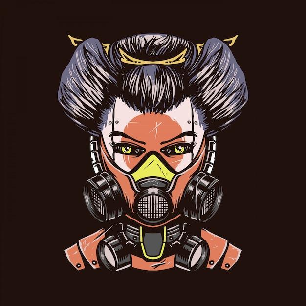 Mecha geisha hand drawn illustration Premium Vector