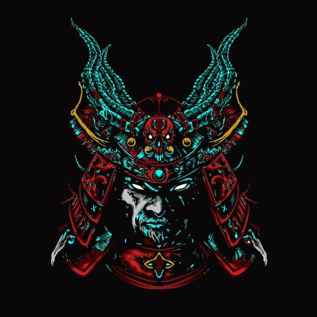 Mecha head samurai colorful illustration Premium Vector