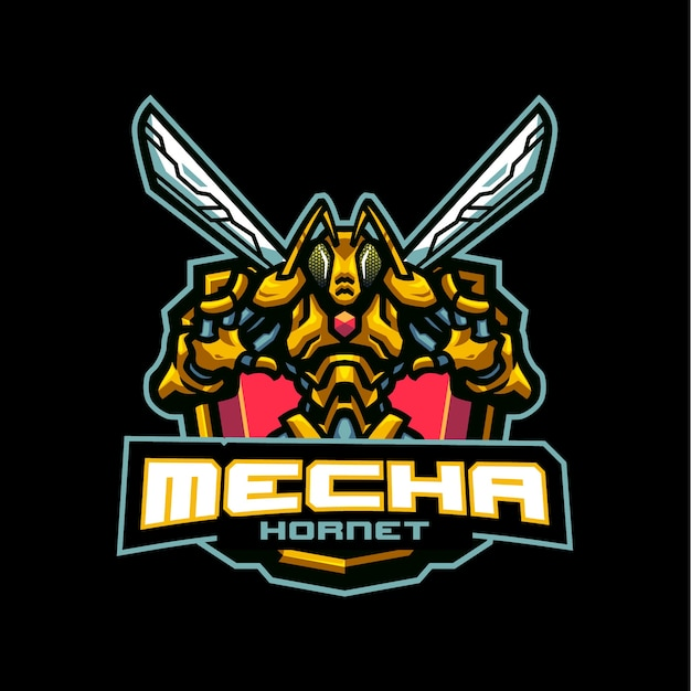 Esports and sportsteamのメカホーネットマスコットロゴ Premiumベクター