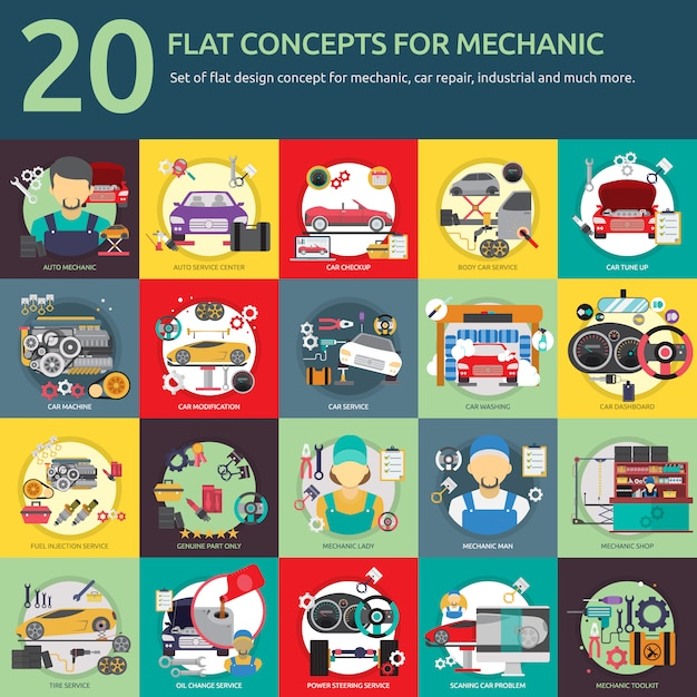 Mechanic designs collection Free Vector