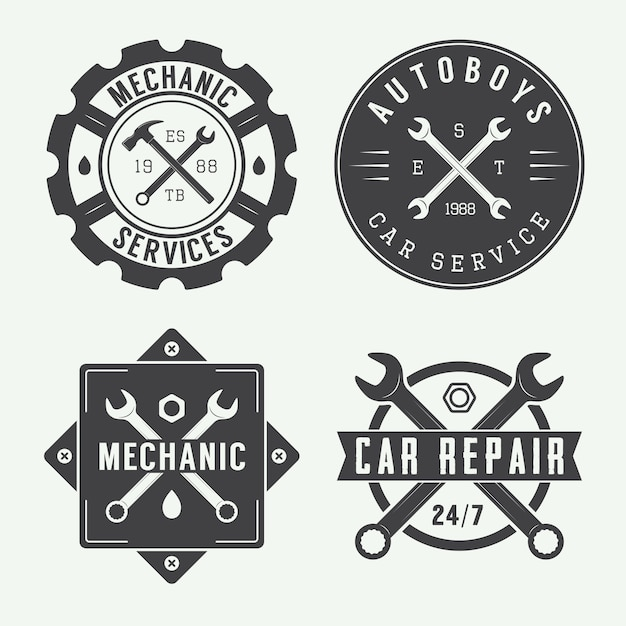 Mechanic emblem and logo. Premium Vector