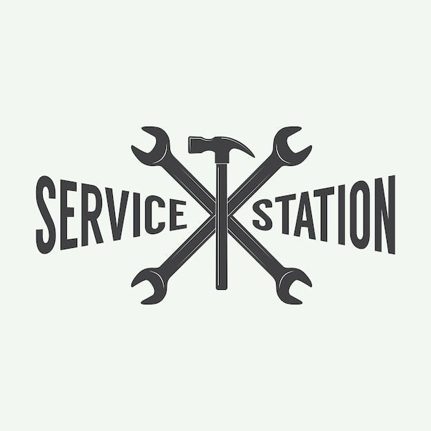 Mechanic emblem and logo. Premium Vector