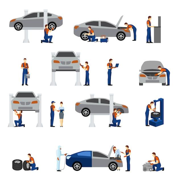 Mechanic flat icons Free Vector