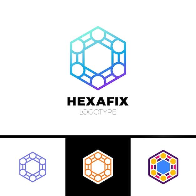 Mechanic gear fix hexagon abstract logo design Premium Vector