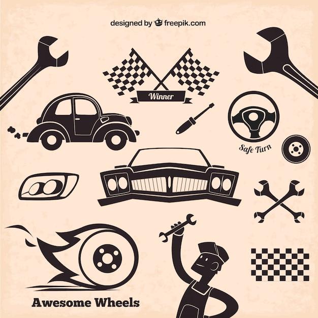 Mechanic icons in retro style Free Vector