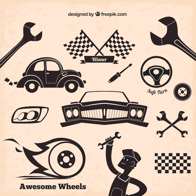 Mechanic icons in retro style Free Vector
