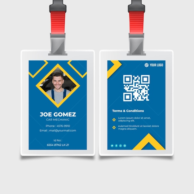 Mechanic id card template Free Vector