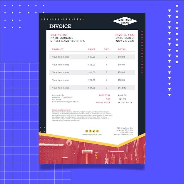Premium Vector Mechanic Invoice Template