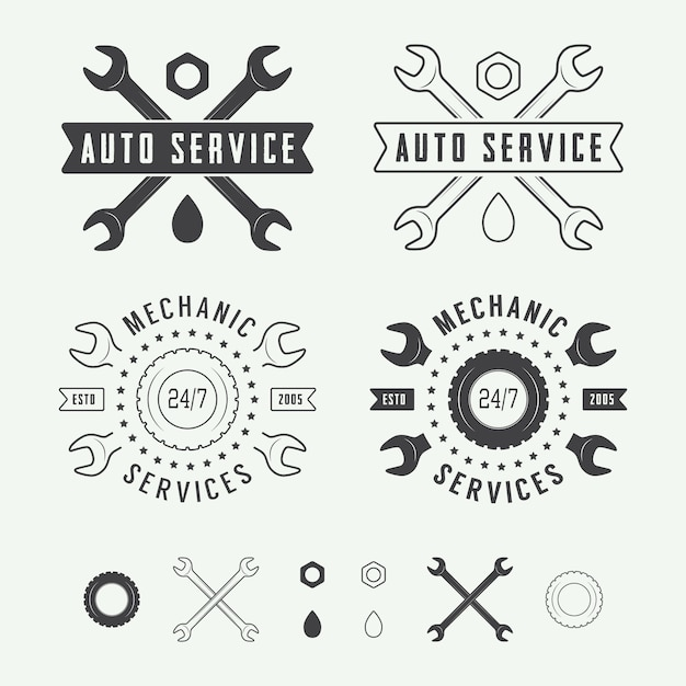 Mechanic label, emblem Premium Vector