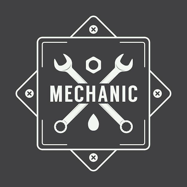 Mechanic label logo Premium Vector