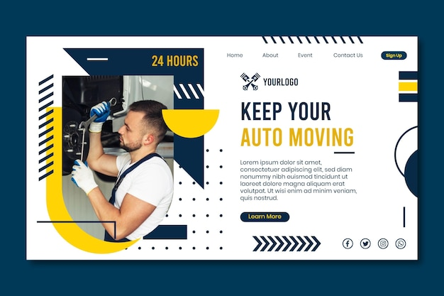 Mechanic landing page concept Free Vector