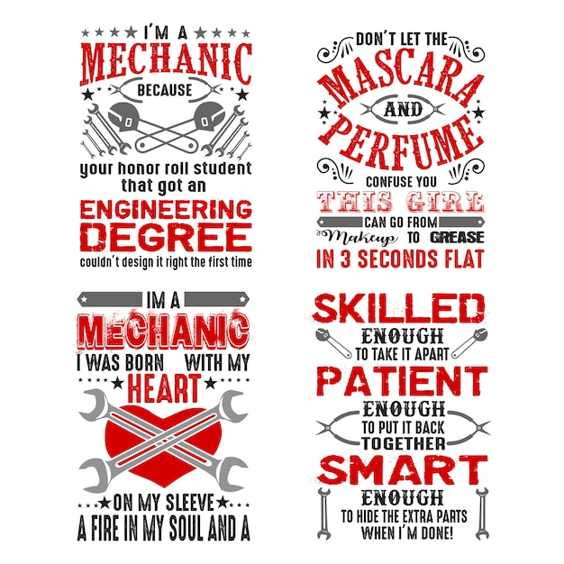 Mechanic quote and saying set Premium Vector